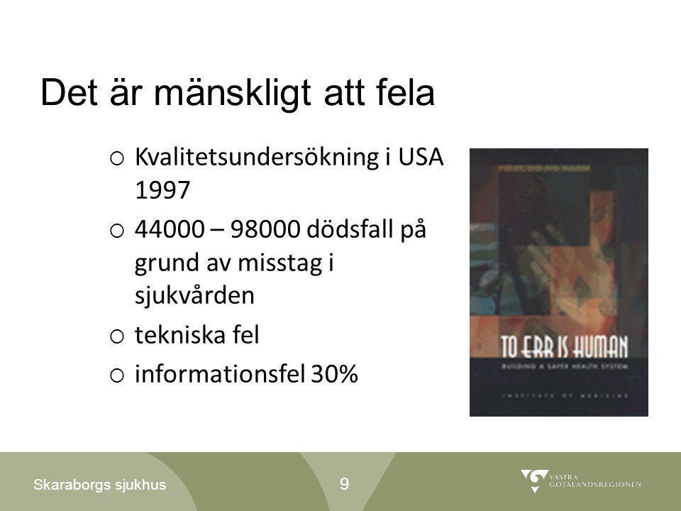 Skaraborgs sjukhus Det är mänskligt att fela  Kvalitetsundersökning i USA 1997  44000 – 98000 dödsfall på grund av misstag i sjukvården  tekniska f