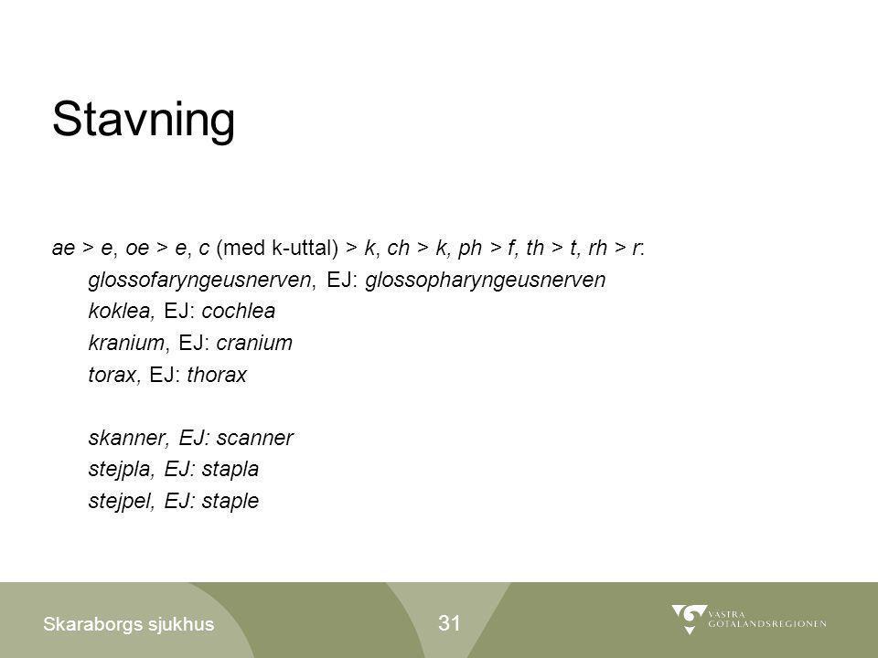 Skaraborgs sjukhus Stavning ae > e, oe > e, c (med k-uttal) > k, ch > k, ph > f, th > t, rh > r: glossofaryngeusnerven, EJ: glossopharyngeusnerven kok