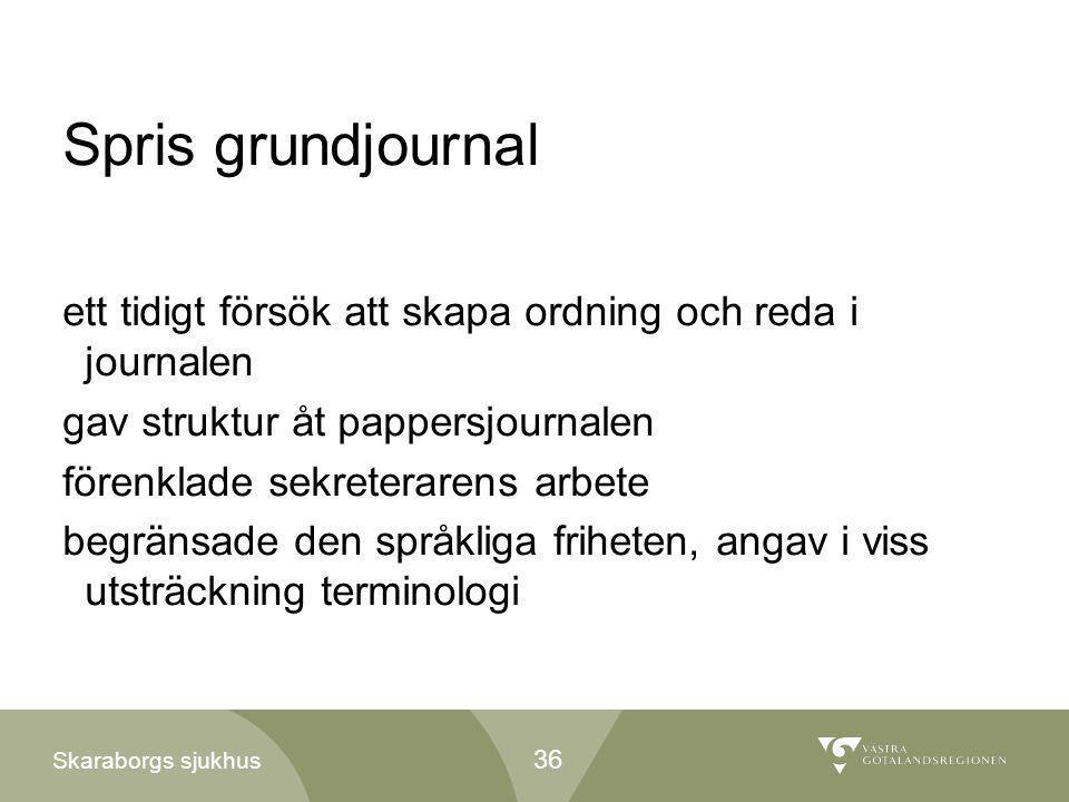 Skaraborgs sjukhus Spris grundjournal ett tidigt försök att skapa ordning och reda i journalen gav struktur åt pappersjournalen förenklade sekreterare