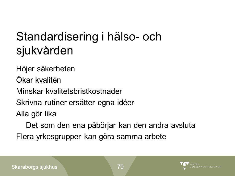 Skaraborgs sjukhus Standardisering i hälso- och sjukvården Höjer säkerheten Ökar kvalitén Minskar kvalitetsbristkostnader Skrivna rutiner ersätter egn