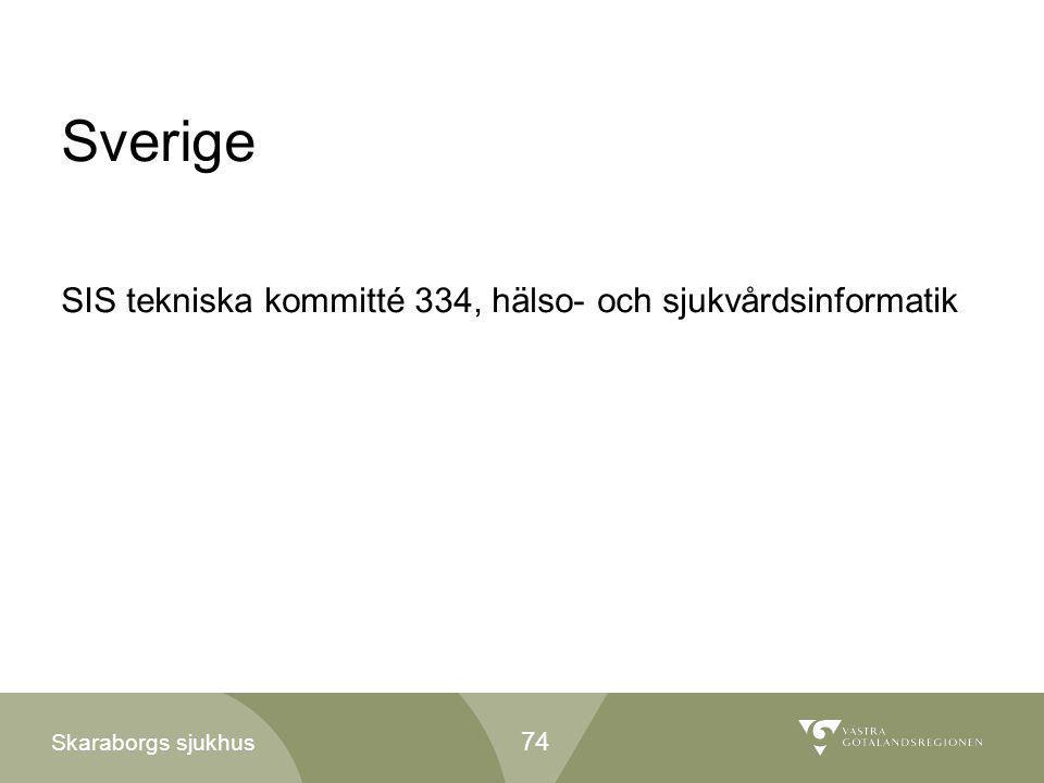 Skaraborgs sjukhus Sverige SIS tekniska kommitté 334, hälso- och sjukvårdsinformatik 74