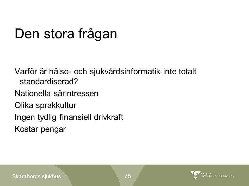 Skaraborgs sjukhus Den stora frågan Varför är hälso- och sjukvårdsinformatik inte totalt standardiserad? Nationella särintressen Olika språkkultur Ing