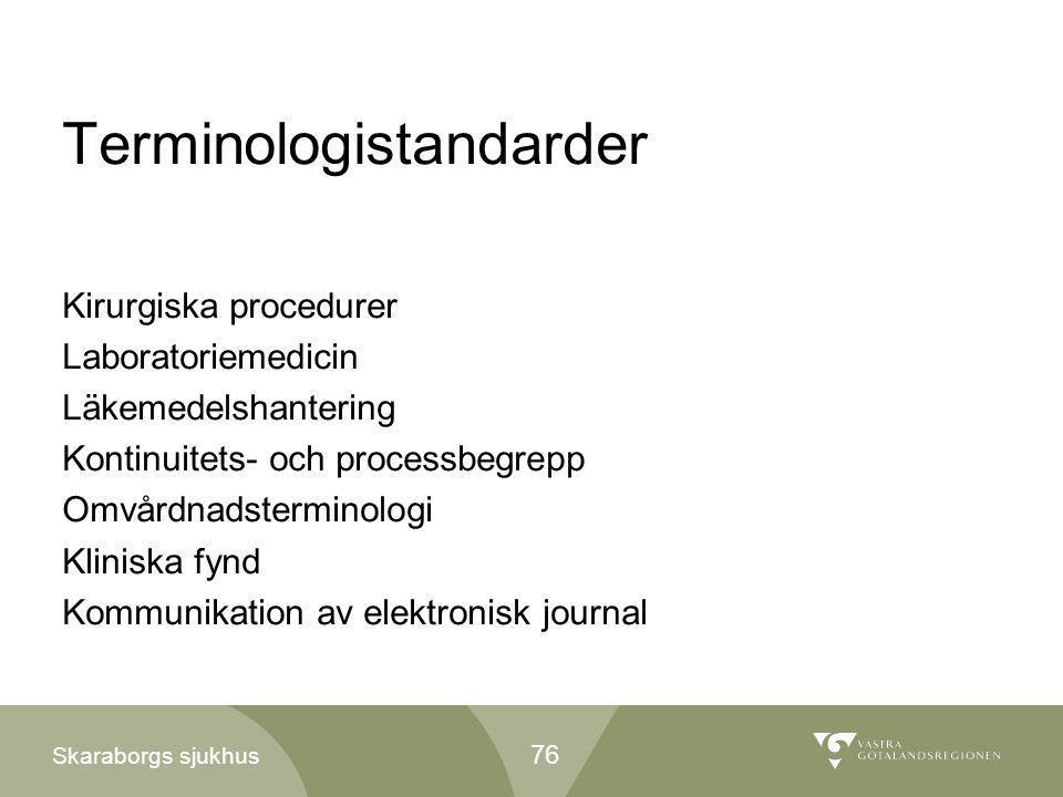 Skaraborgs sjukhus Terminologistandarder Kirurgiska procedurer Laboratoriemedicin Läkemedelshantering Kontinuitets- och processbegrepp Omvårdnadstermi