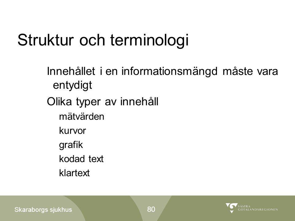 Skaraborgs sjukhus Struktur och terminologi Innehållet i en informationsmängd måste vara entydigt Olika typer av innehåll mätvärden kurvor grafik koda
