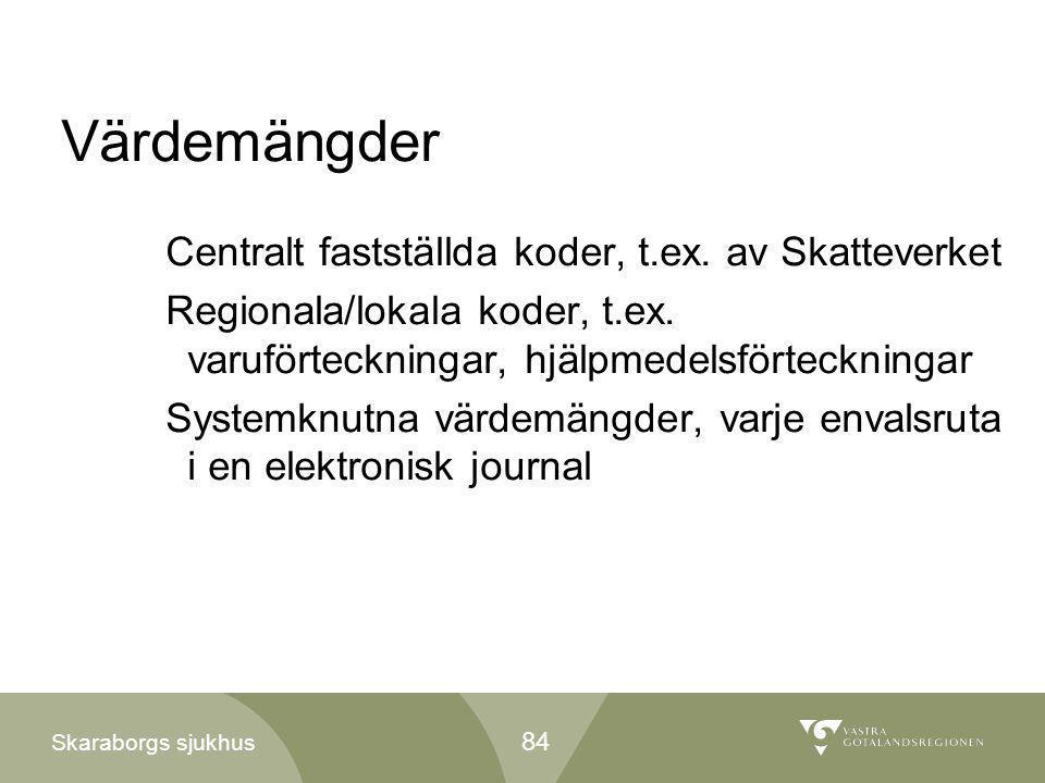 Skaraborgs sjukhus Värdemängder Centralt fastställda koder, t.ex. av Skatteverket Regionala/lokala koder, t.ex. varuförteckningar, hjälpmedelsförteckn