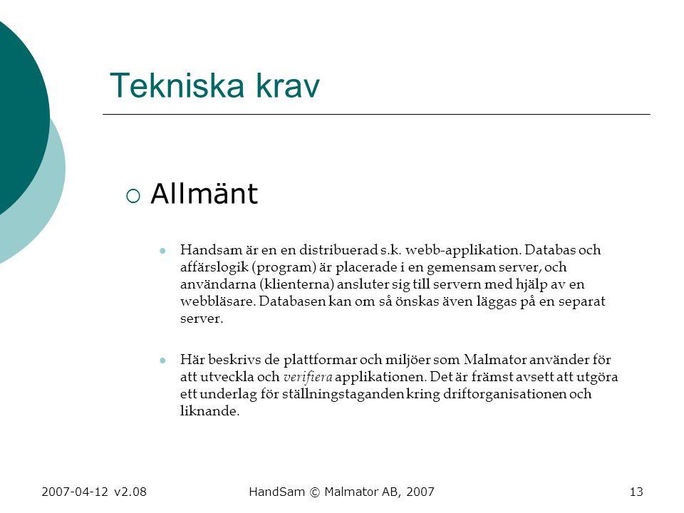2007-04-12 v2.08HandSam © Malmator AB, 200713 Tekniska krav  Allmänt  Handsam är en en distribuerad s.k. webb-applikation. Databas och affärslogik (