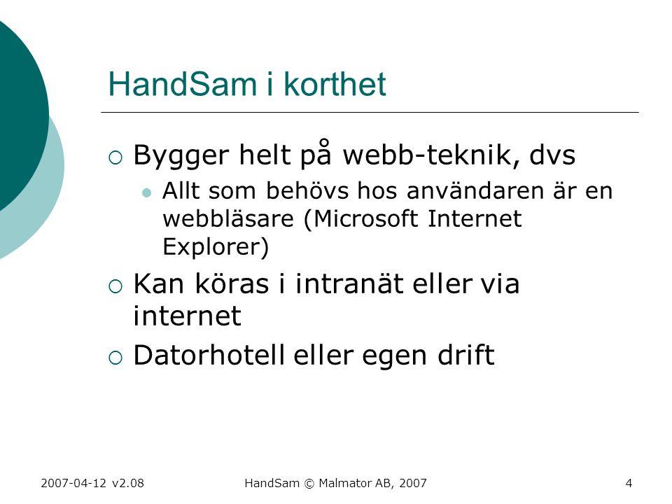 2007-04-12 v2.08HandSam © Malmator AB, 20074 HandSam i korthet  Bygger helt på webb-teknik, dvs  Allt som behövs hos användaren är en webbläsare (Mi