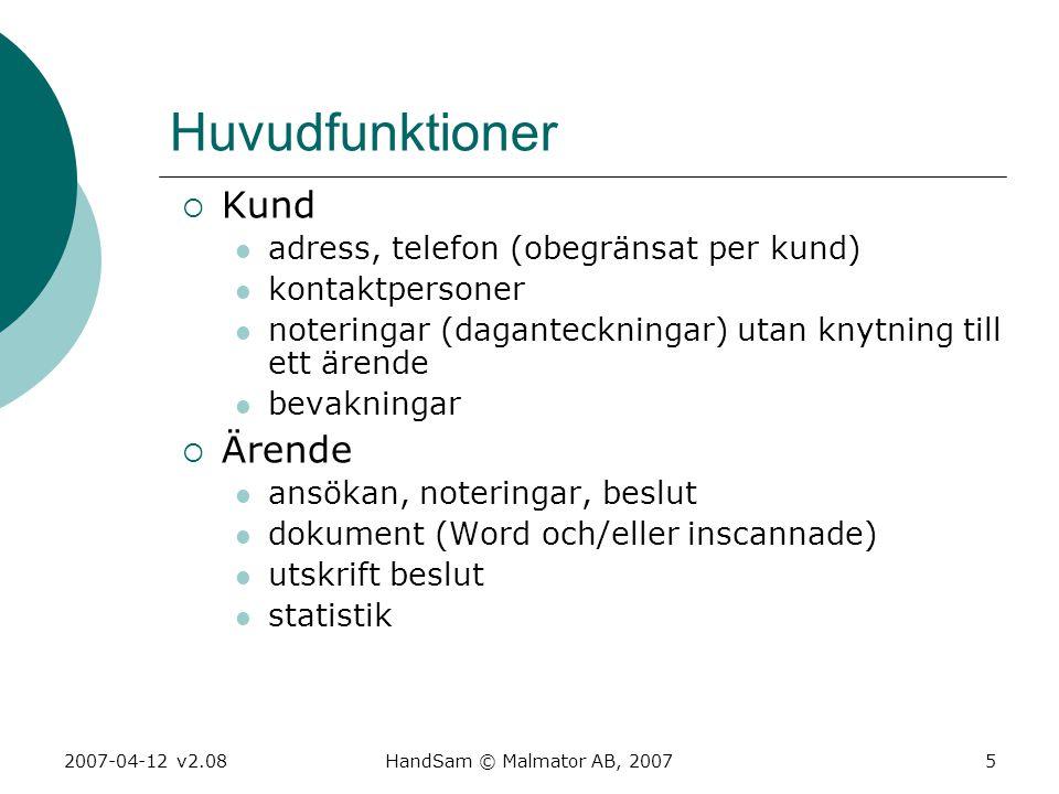 2007-04-12 v2.08HandSam © Malmator AB, 20075 Huvudfunktioner  Kund  adress, telefon (obegränsat per kund)  kontaktpersoner  noteringar (daganteckn