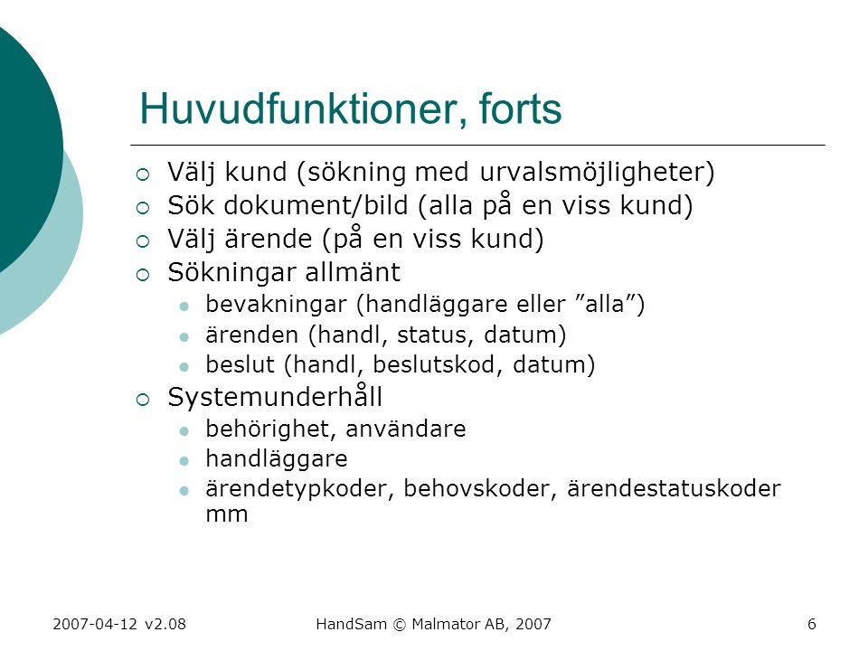 2007-04-12 v2.08HandSam © Malmator AB, 20076 Huvudfunktioner, forts  Välj kund (sökning med urvalsmöjligheter)  Sök dokument/bild (alla på en viss k