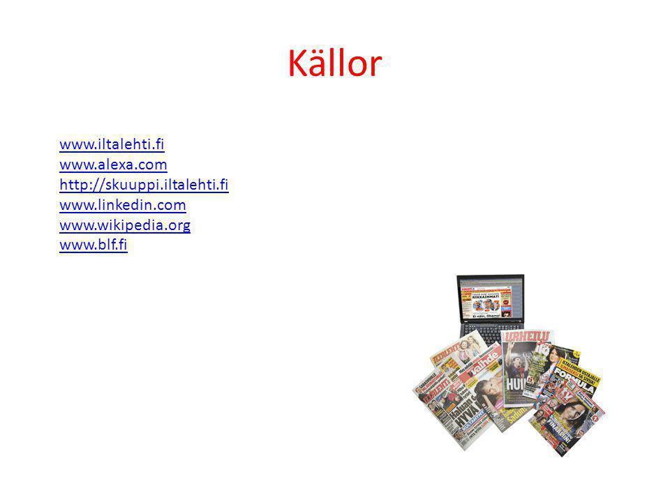 Källor www.iltalehti.fi www.alexa.com http://skuuppi.iltalehti.fi www.linkedin.com www.wikipedia.org www.blf.fi