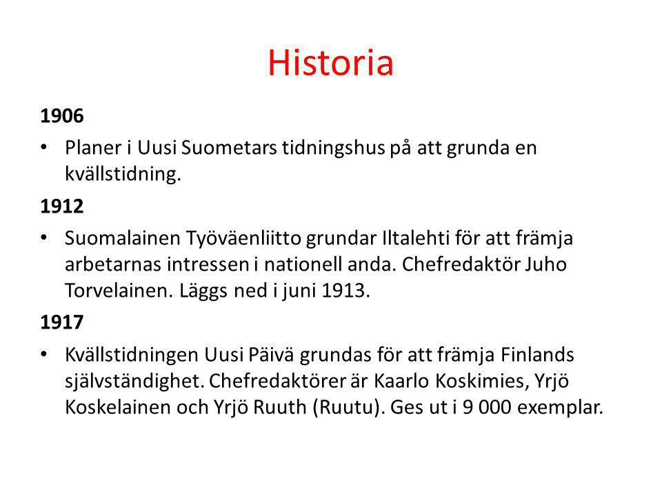 Historia 1906 • Planer i Uusi Suometars tidningshus på att grunda en kvällstidning. 1912 • Suomalainen Työväenliitto grundar Iltalehti för att främja
