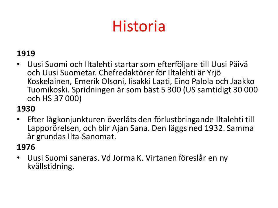 Historia 1919 • Uusi Suomi och Iltalehti startar som efterföljare till Uusi Päivä och Uusi Suometar. Chefredaktörer för Iltalehti är Yrjö Koskelainen,