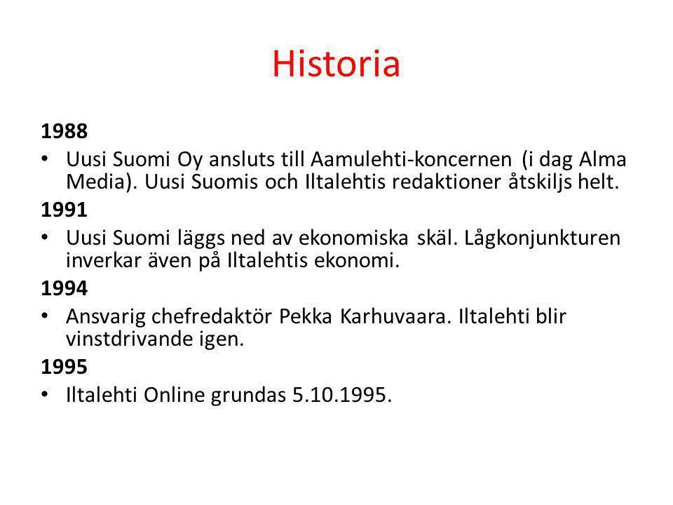 Historia 1988 • Uusi Suomi Oy ansluts till Aamulehti-koncernen (i dag Alma Media). Uusi Suomis och Iltalehtis redaktioner åtskiljs helt. 1991 • Uusi S