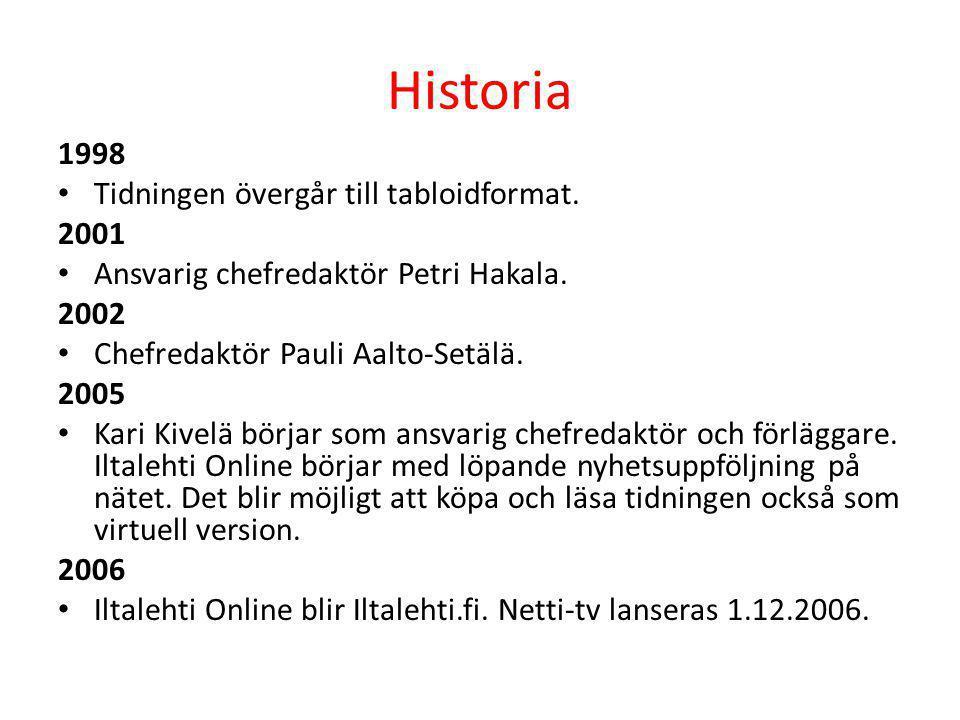 Historia 1998 • Tidningen övergår till tabloidformat. 2001 • Ansvarig chefredaktör Petri Hakala. 2002 • Chefredaktör Pauli Aalto-Setälä. 2005 • Kari K