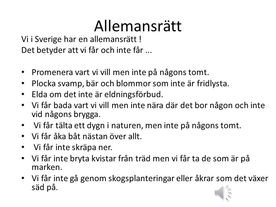 Allemansrätt Vi i Sverige har en allemansrätt .Det betyder att vi får och inte får...