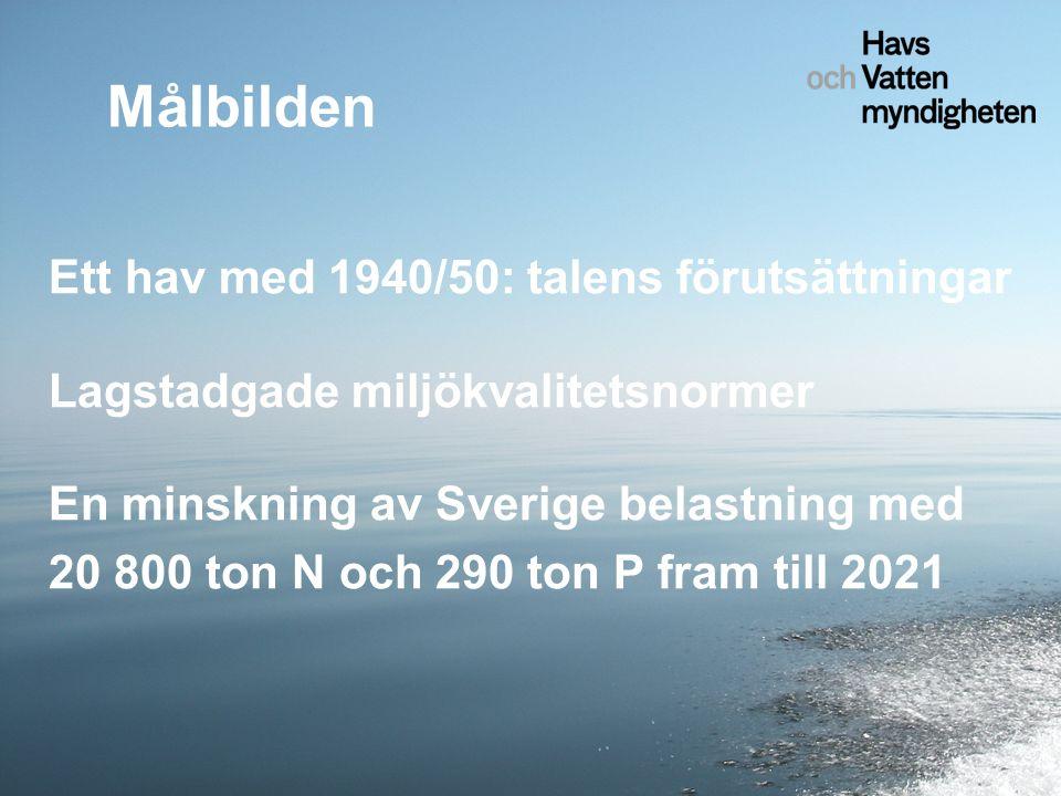 Ett hav med 1940/50: talens förutsättningar Lagstadgade miljökvalitetsnormer En minskning av Sverige belastning med 20 800 ton N och 290 ton P fram till 2021 Målbilden