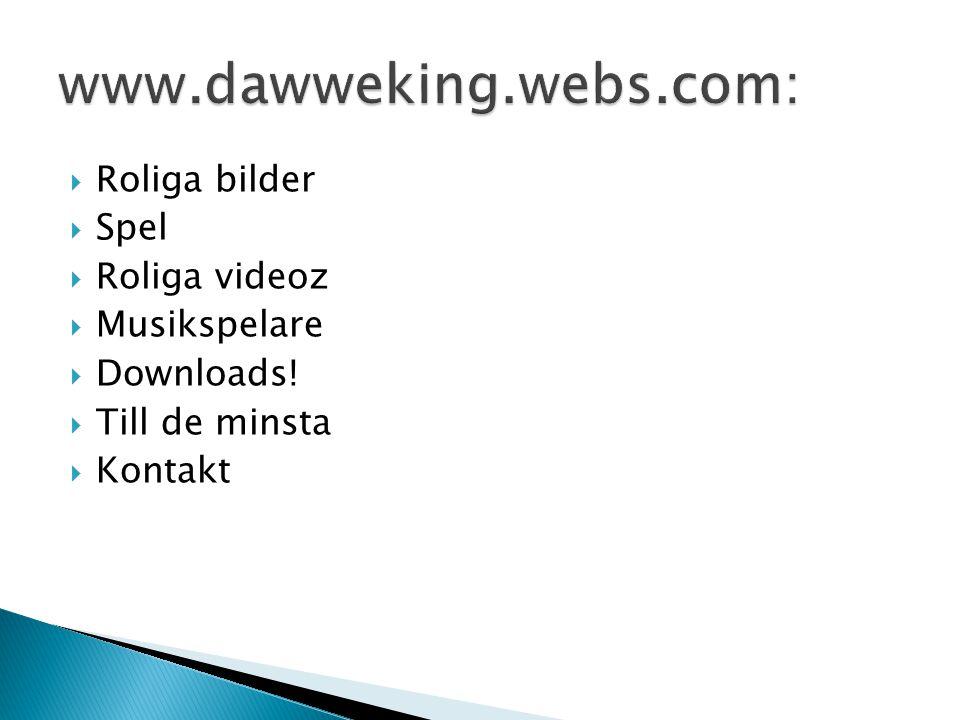  Roliga bilder  Spel  Roliga videoz  Musikspelare  Downloads!  Till de minsta  Kontakt