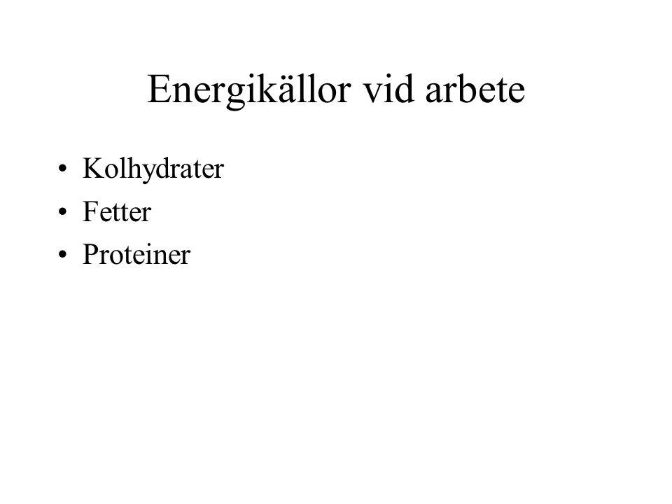 Energikällor vid arbete •Kolhydrater •Fetter •Proteiner