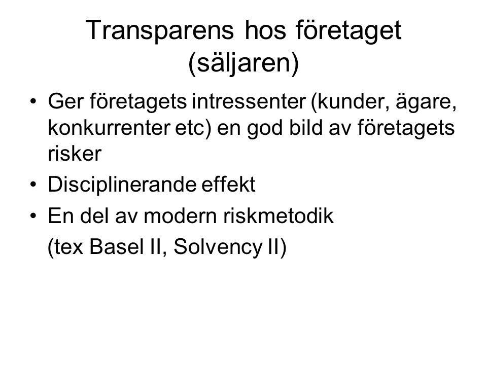 Transparens hos företaget (säljaren) •Ger företagets intressenter (kunder, ägare, konkurrenter etc) en god bild av företagets risker •Disciplinerande