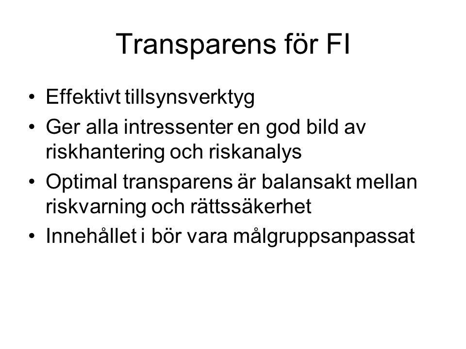 Transparens för FI •Effektivt tillsynsverktyg •Ger alla intressenter en god bild av riskhantering och riskanalys •Optimal transparens är balansakt mel