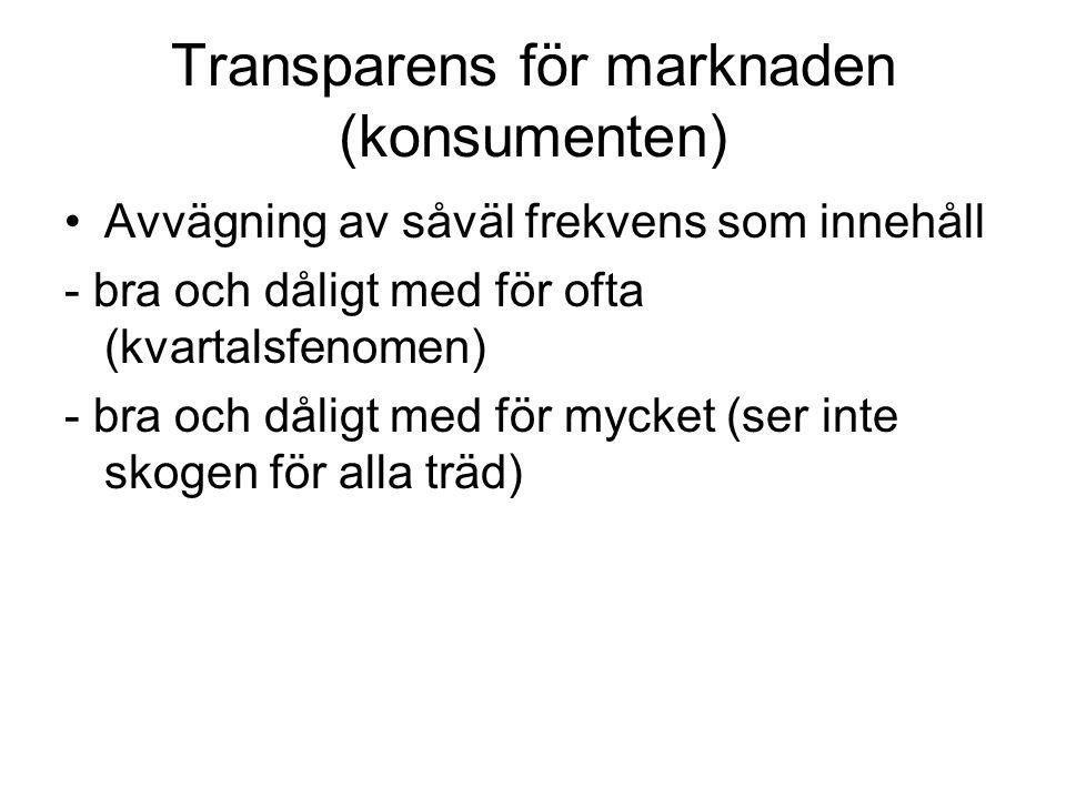 Transparens för marknaden (konsumenten) •Avvägning av såväl frekvens som innehåll - bra och dåligt med för ofta (kvartalsfenomen) - bra och dåligt med