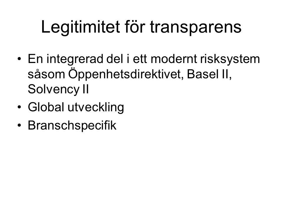 Legitimitet för transparens •En integrerad del i ett modernt risksystem såsom Öppenhetsdirektivet, Basel II, Solvency II •Global utveckling •Branschsp