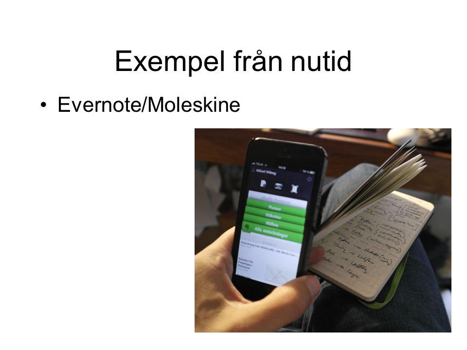 Exempel från nutid •Evernote/Moleskine