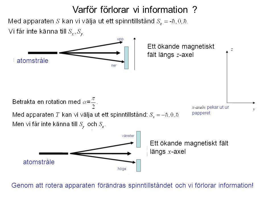 Fk3002 Kvantfysikens grunder10 Varför förlorar vi information ? upp ner atomstråle Ett ökande magnetiskt fält längs z -axel Ett ökande magnetiskt fält