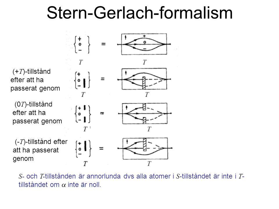 Fk3002 Kvantfysikens grunder11 Stern-Gerlach-formalism (+ T )-tillstånd efter att ha passerat genom (0 T )-tillstånd efter att ha passerat genom (- T