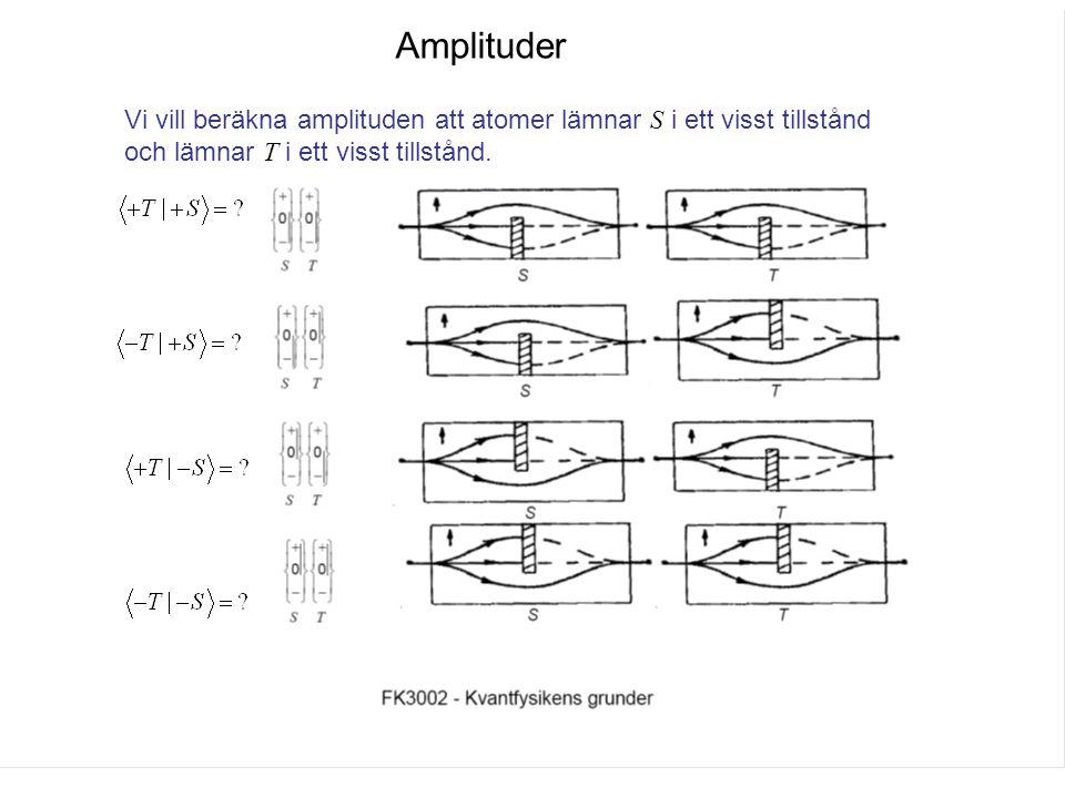 Fk3002 Kvantfysikens grunder12 Amplituder Vi vill beräkna amplituden att atomer lämnar S i ett visst tillstånd och lämnar T i ett visst tillstånd.