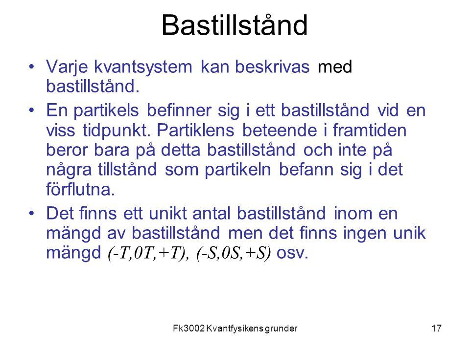 Fk3002 Kvantfysikens grunder17 Bastillstånd •Varje kvantsystem kan beskrivas med bastillstånd. •En partikels befinner sig i ett bastillstånd vid en vi