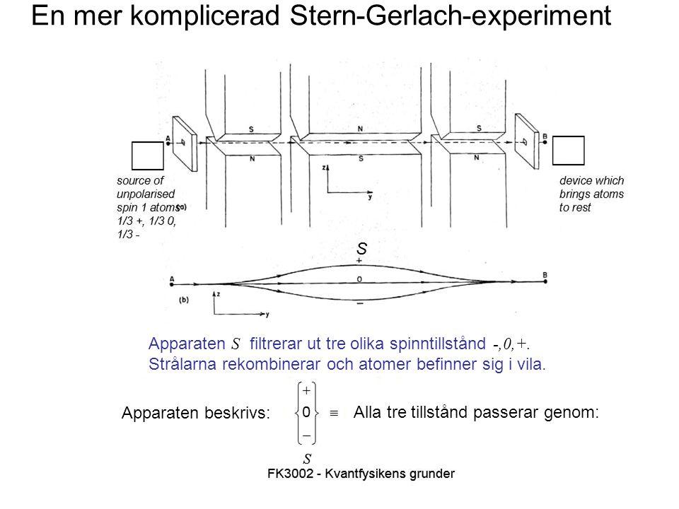 Fk3002 Kvantfysikens grunder4 Stern-Gerlach-formalism Tillståndet ( +S ) filtreras genom Tillståndet ( 0S ) filtreras genom Tillståndet ( -S ) filtreras genom Alla tillstånd (-S,0S,+S) filtreras genom Formalism som illustrerar konfigurationer med spärrar i olika lägen.