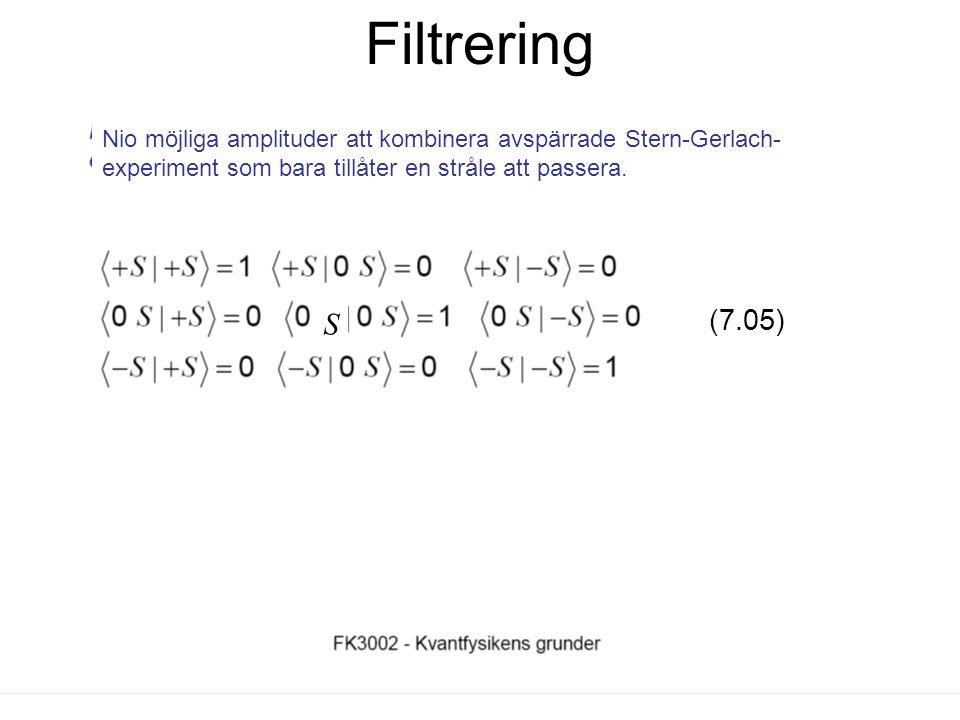 Fk3002 Kvantfysikens grunder18 Att identiferia ett bastillstånd Varje atom i en filtrerad stråle är i ett bastillstånd om strålen inte kan splittras i fler strålar.