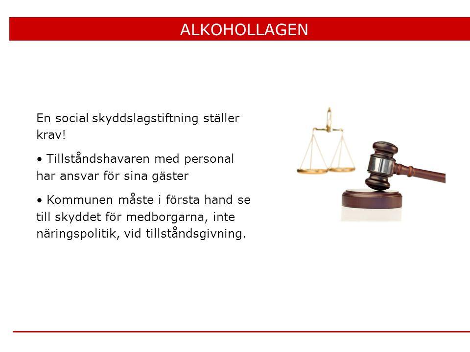 En social skyddslagstiftning ställer krav! • Tillståndshavaren med personal har ansvar för sina gäster • Kommunen måste i första hand se till skyddet