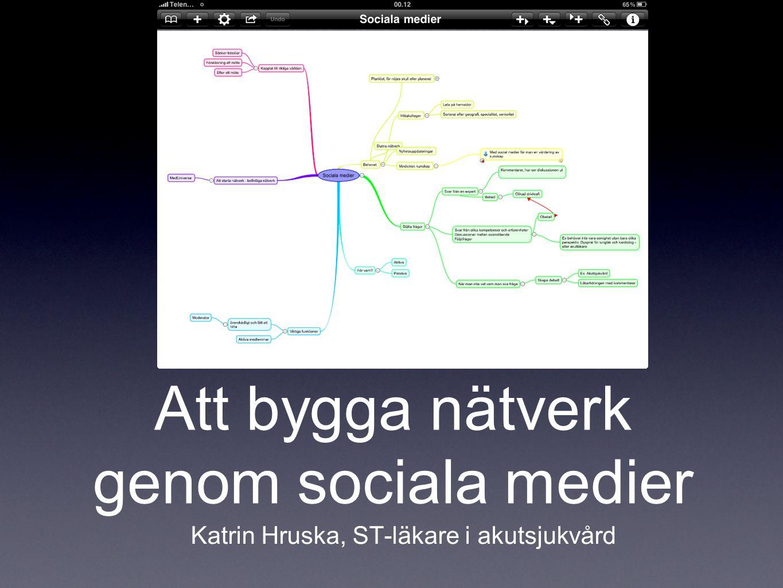 Att bygga nätverk genom sociala medier Katrin Hruska, ST-läkare i akutsjukvård