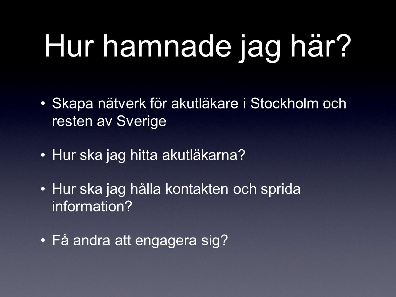 Hur hamnade jag här? •Skapa nätverk för akutläkare i Stockholm och resten av Sverige •Hur ska jag hitta akutläkarna? •Hur ska jag hålla kontakten och