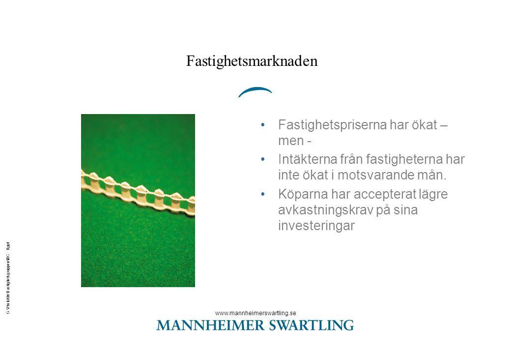 www.mannheimerswartling.se G:\J\mta\div\Fastighetsgruppen\IBC II.ppt Fastighetsmarknaden •Fastighetspriserna har ökat – men - •Intäkterna från fastigh