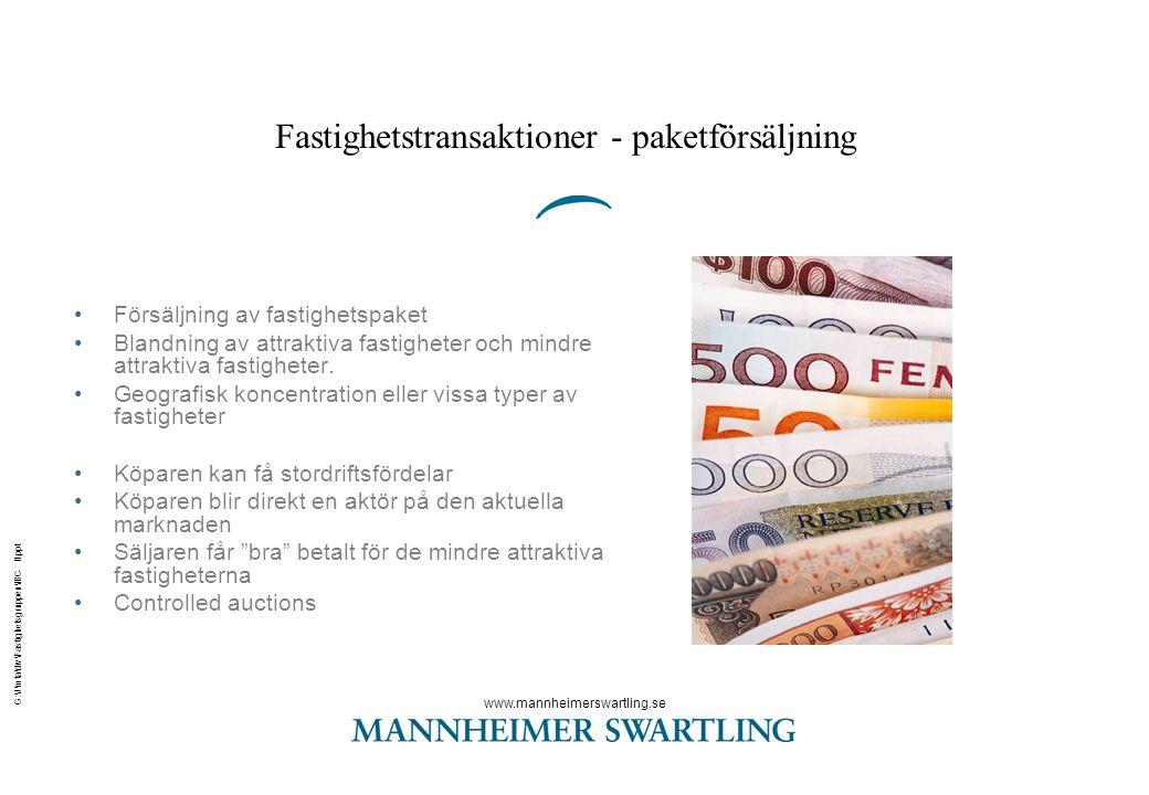 www.mannheimerswartling.se G:\J\mta\div\Fastighetsgruppen\IBC II.ppt Fastighetstransaktioner - bolagsaffärer •Fördelaktigt skattemässigt för säljaren då skattemässiga fördelar att sälja dotterbolag •Säljaren paketerar fastigheterna i bolaget.