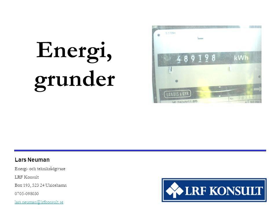 Energi, grunder Lars Neuman Energi- och teknikrådgivare LRF Konsult Box 193, 523 24 Ulricehamn 0705-098030 lars.neuman@lrfkonsult.se