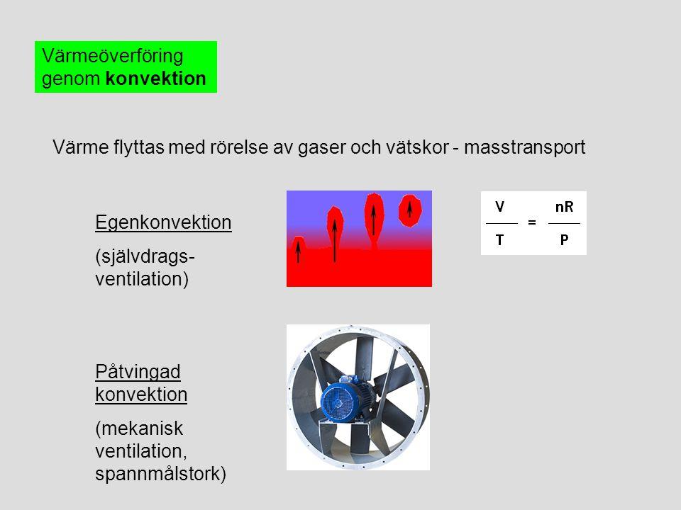 Värmeöverföring genom konvektion Värme flyttas med rörelse av gaser och vätskor - masstransport Egenkonvektion (självdrags- ventilation) Påtvingad kon