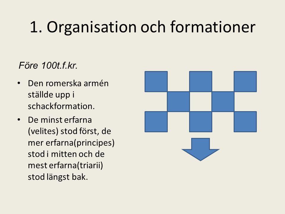 1. Organisation och formationer • Den romerska armén ställde upp i schackformation. • De minst erfarna (velites) stod först, de mer erfarna(principes)