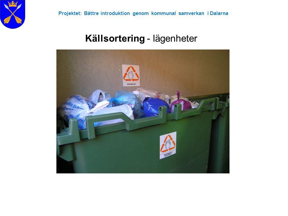 Projektet: Bättre introduktion genom kommunal samverkan i Dalarna Källsortering - lägenheter