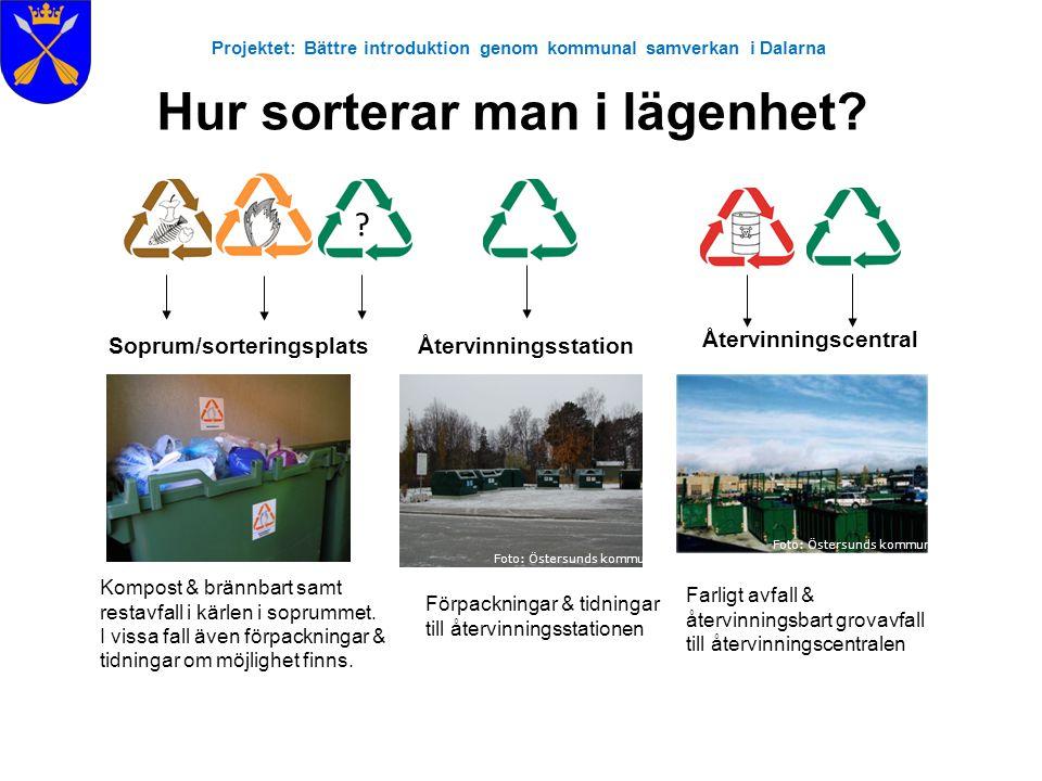 Projektet: Bättre introduktion genom kommunal samverkan i Dalarna Kompost & brännbart samt restavfall i kärlen i soprummet. I vissa fall även förpackn