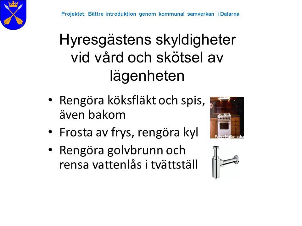 Projektet: Bättre introduktion genom kommunal samverkan i Dalarna Hyresgästens skyldigheter vid vård och skötsel av lägenheten •Kontrollera och gör rent ventiler •Byta proppar och glödlampor •Kontakta bostadsföretaget om det inträffar ett fel, en skada i lägenheten eller om du får ohyra/skadedjur i lägenheten Källa: http://www.sita.se Källa: www.kjell.co m