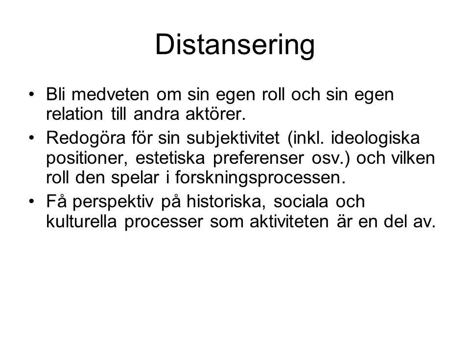 Distansering •Bli medveten om sin egen roll och sin egen relation till andra aktörer.