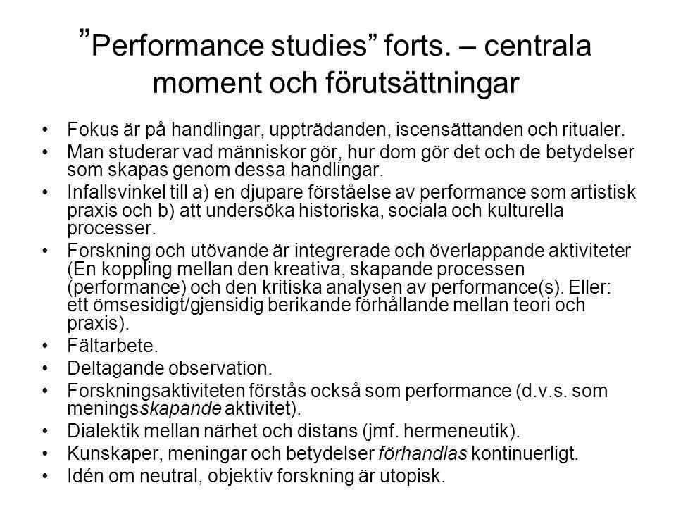 Performance studies forts.