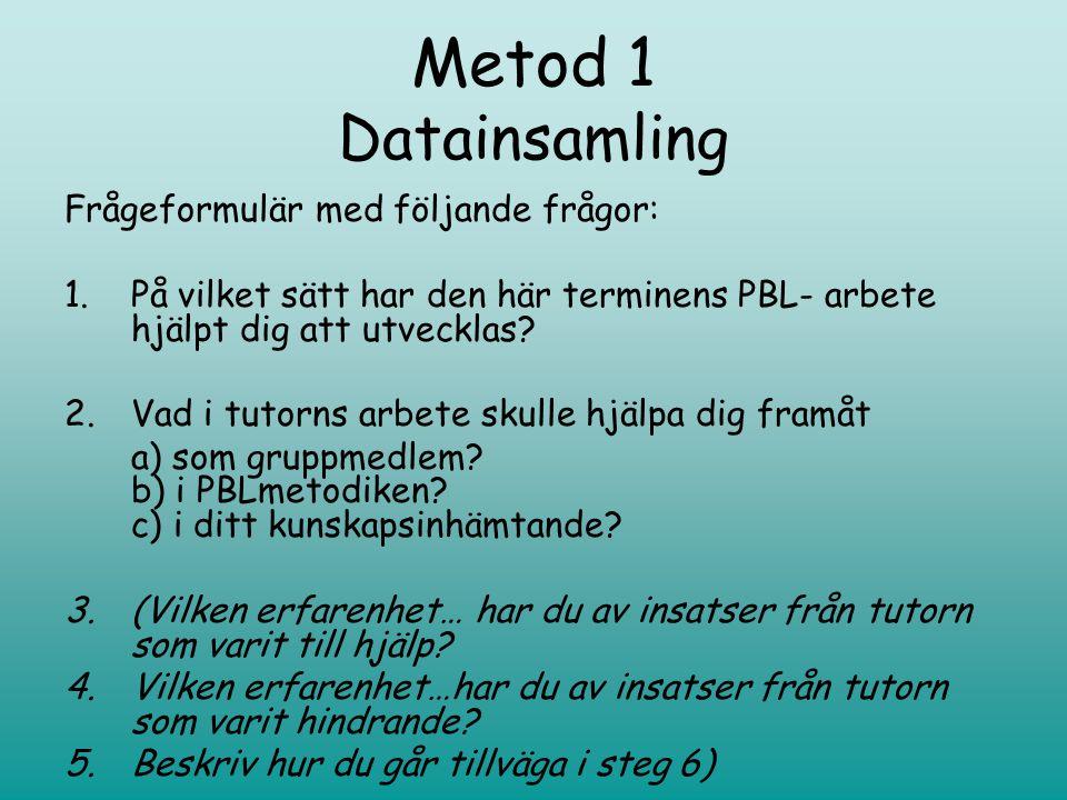 Metod 1 Datainsamling Frågeformulär med följande frågor: 1.På vilket sätt har den här terminens PBL- arbete hjälpt dig att utvecklas.