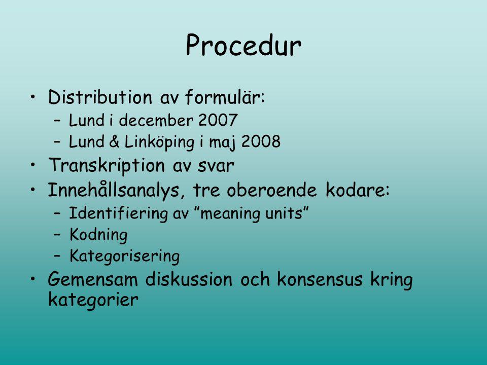 Procedur •Distribution av formulär: –Lund i december 2007 –Lund & Linköping i maj 2008 •Transkription av svar •Innehållsanalys, tre oberoende kodare: –Identifiering av meaning units –Kodning –Kategorisering •Gemensam diskussion och konsensus kring kategorier
