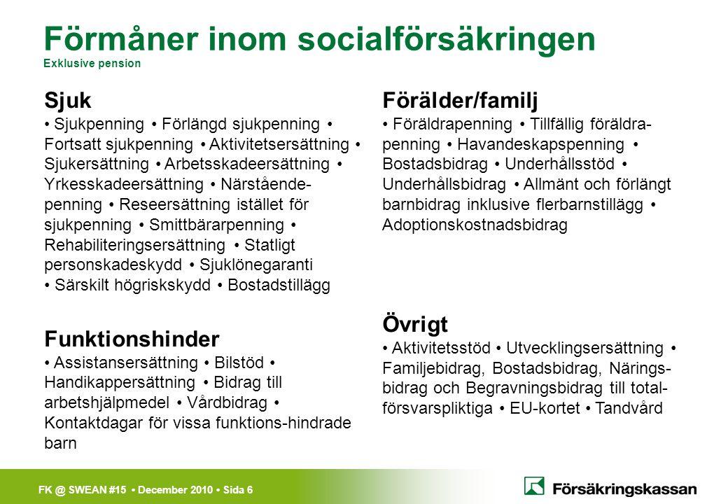 FK @ SWEAN #15 • December 2010 • Sida 6 Sjuk • Sjukpenning • Förlängd sjukpenning • Fortsatt sjukpenning • Aktivitetsersättning • Sjukersättning • Arb