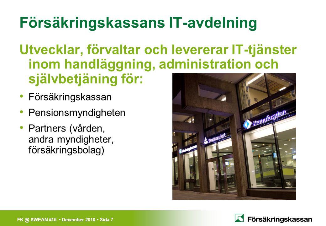 FK @ SWEAN #15 • December 2010 • Sida 8 •Kalix/ Luleå •Sundsvall •Söderhamn •Stockholm •Karlskrona Försäkringskassan IT i fakta/siffror Göteborg • Cirka 900 medarbetare huvudsakliga orter: – Kalix, Luleå, Sundsvall, Söderhamn, Stockholm, Göteborg och Karlskrona Lite mer siffror/fakta: • Utbetalning – drygt 470 miljarder kronor • Försändelser – drygt 33 miljoner skickade försändelser till medborgarna via FK IT • IT-utveckling – 600-700 MSEK/år • IT-tjänster för Pensionsmyndigheten FK IT levererar IT-tjänster även till Pensionsmyndigheten